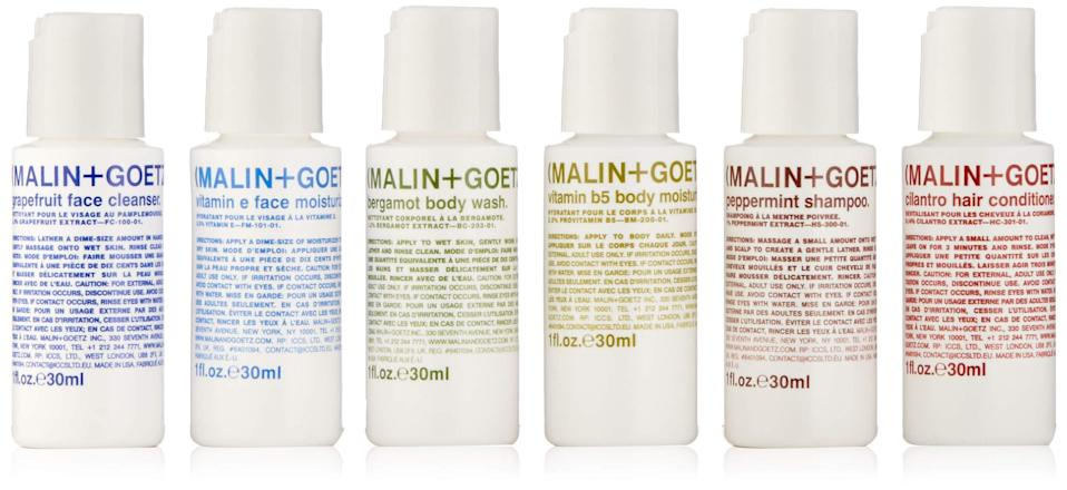 """<h2>Malin+Goetz Essentials Kit</h2><br>If bathing in an airport bathroom was an art, then this TSA-approved and best-selling organic body kit would be the paint.<br><br><em>Shop</em> <strong><em><a href=""""https://amzn.to/3uNX6kZ"""" rel=""""nofollow noopener"""" target=""""_blank"""" data-ylk=""""slk:Malin + Goetz"""" class=""""link rapid-noclick-resp"""">Malin + Goetz</a></em></strong><br><br><strong>Malin + Goetz</strong> Essential Starter Kit, $, available at <a href=""""https://amzn.to/33M8NNg"""" rel=""""nofollow noopener"""" target=""""_blank"""" data-ylk=""""slk:Amazon"""" class=""""link rapid-noclick-resp"""">Amazon</a>"""