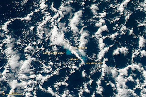 Taken in the afternoon on July 19, 2012, this NASA MODIS image reveals the Havre Seamount eruption, including the gray pumice, ash-stained water and the volcanic plume. [<a href=http://www.livescience.com/11252-wild-volcanoes.html>Wild Volcano