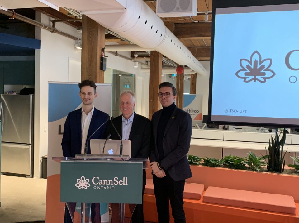 Lift & Co. chief executive officer Matei Olaru, MADD Canada chief executive officer Andrew Murie, and Lift & Co.'s vice president of strategy, Nick Pateras speak at Lift & Co.'s Toronto office on Feb. 20, 2018. (Lift & Co. via Twitter)