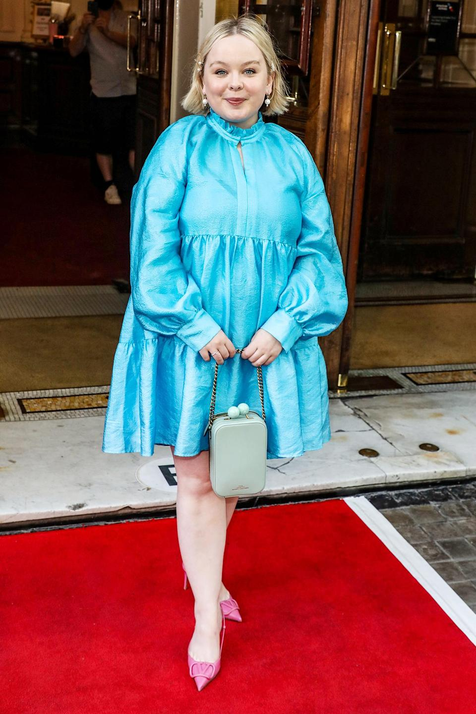 <p>Nicola Coughlan looks radiant in a baby blue mini dress at the Gala Night for <i>Alyssa: Memoirs of a Queen</i> at the Vaudeville Theatre on June 10 in London. </p>