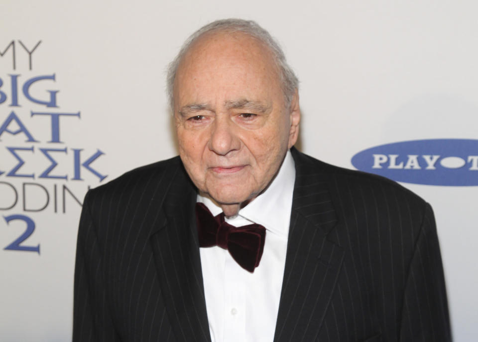 """FILE - Michael Constantine attends the premiere of """"My Big Fat Greek Wedding 2""""in New York on March 15, 2016. Constantine, an Emmy Award-winning character actor who reached worldwide fame playing the Windex bottle-toting father of the bride in the 2002 film """"My Big Fat Greek Wedding,"""" died Aug. 31 in his home at Reading, Pennsylvania, of natural causes. He was 94. (Photo by Andy Kropa/Invision/AP, File)"""