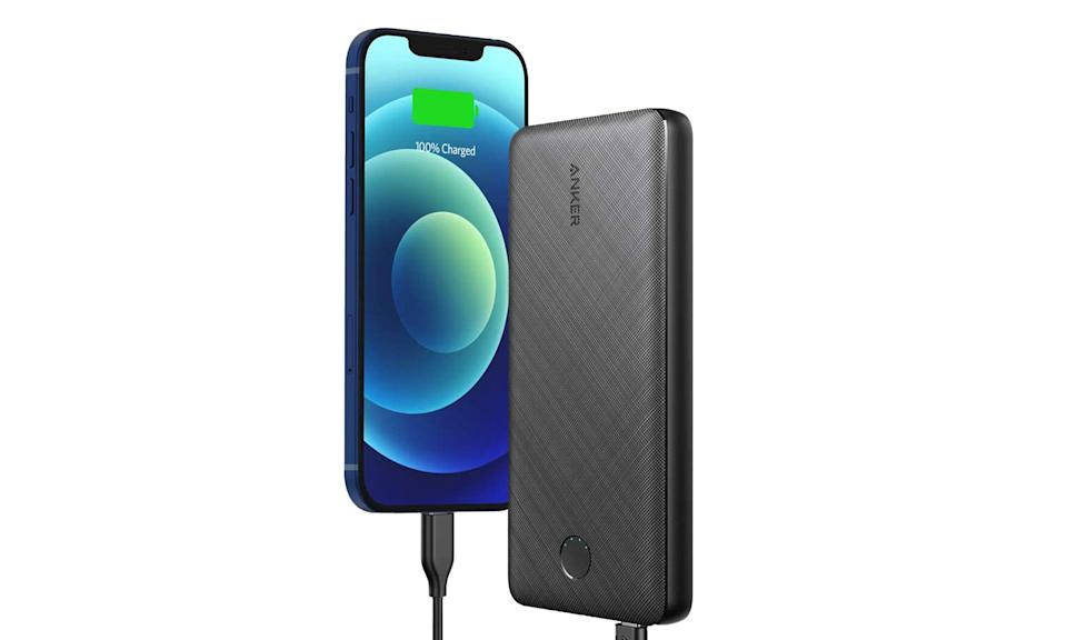 A rendering of the Anker PowerCore Essential 20,000mAh portable battery and a smartphone being charged.