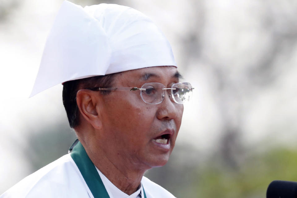 FILE - In this Jan. 4, 2020, file photo, Myanmar Vice President Myint Swe speaks during a ceremony to mark the 72nd anniversary of Independence Day in Naypyitaw, Myanmar. Myanmar military television said Monday, Feb. 1, 2021 that the military was taking control of the country for one year, while reports said many of the country's senior politicians including Aung San Suu Kyi had been detained. The military TV report said Commander-in-Chief Senior Gen. Min Aung Hlaing would be in charge of the country, while Myint Swe would be elevated to acting president. (AP Photo/Aung Shine Oo, File)