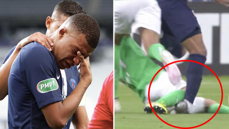 Kylian Mbappe (pictured left) in tears and (pictured right) during a horror tackle.