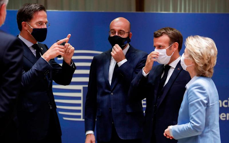 Dutch Prime Minister Mark Rutte (left), squares up to European Council President Charles Michel, French President Emmanuel Macron and President of the European Commission Ursula von der Leyen at this month's EU summit