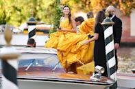 <p>Bianca Balti arrived at the festival on Sept. 1 — with some help, of course, for her stunning gown! </p>