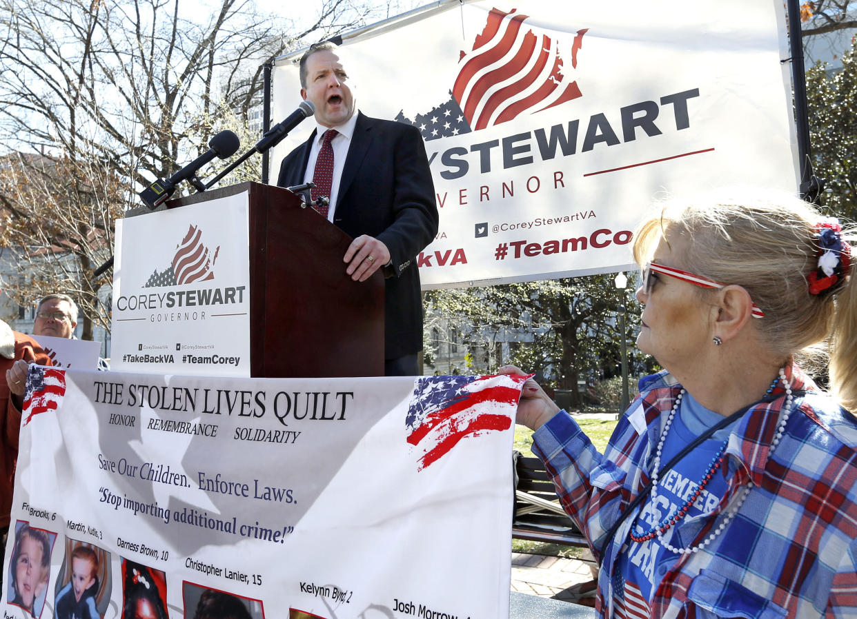 Corey Stewart speaks in Richmond, Va., March 4, 2017. (Photo: P. Kevin Morley/Richmond Times-Dispatch via AP)