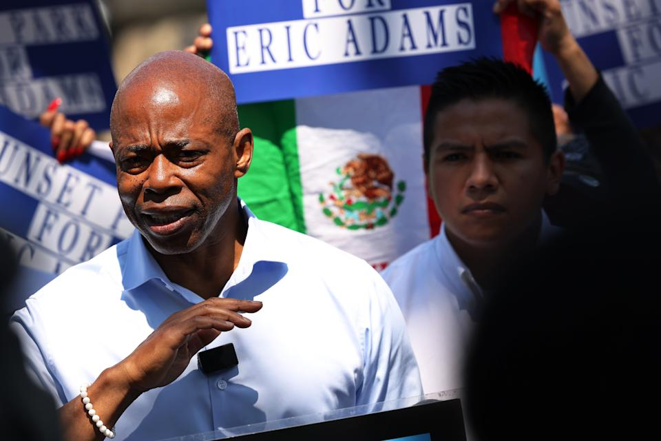 NYC Mayoral candidate Eric Adams speaks during a Get Out the Vote Rally with Mexican-American business and community leaders on June 15, 2021 in the Sunset Park neighborhood of the Brooklyn borough of New York City. (Michael M. Santiago/Getty Images)