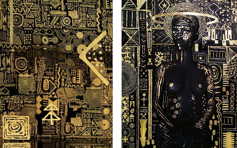 """Left, an image from the video for """"All the Stars"""" by Kendrick Lamar and SZA; right, the painting """"Constellation I"""" by Lina Iris Viktor"""