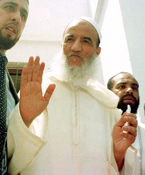 FILE - Morocco's main Islamic leader Abdessalam Yassine gestures in his local mosque during the Friday prayer, in this May 19, 2000 file photo, in Sale, on the outskirts of the Moroccan capital Rabat. The daughter of the founder of Morocco's most powerful religious opposition movement says that her father has died aged 84 on Thursday Dec. 13 2012. (AP Photo/Jalil Bounhar)