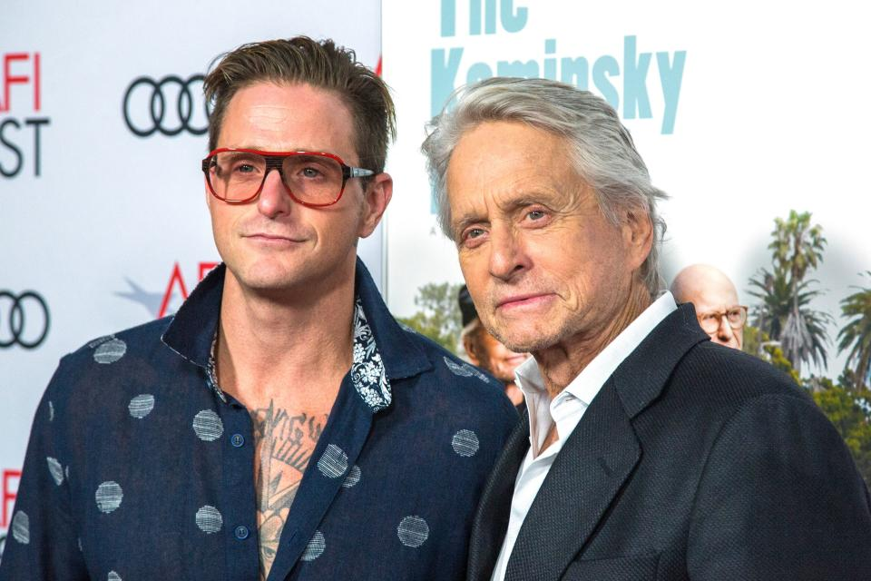 "Michael Douglas and son Cameron Douglas attend the AFI Fest world premiere of ""The Kominsky Method"" on November 10, 2018 in the Hollywood. (Photo by DAVID MCNEW / AFP via Getty Images)"