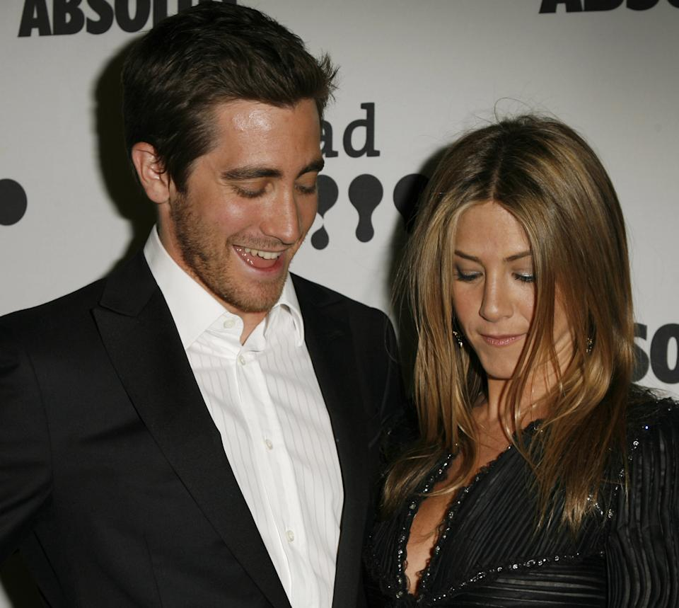 Jake Gyllenhaal and Jennifer Aniston during 18th Annual GLAAD Media Awards - Los Angeles - Backstage at Kodak Theater in Los Angeles, California, United States. (Photo by Jeff Vespa/WireImage)
