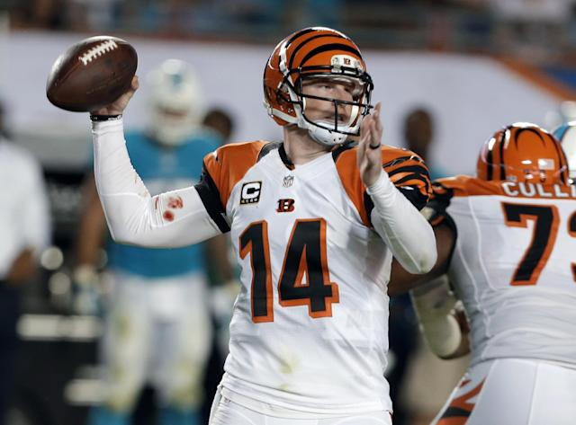 Cincinnati Bengals quarterback Andy Dalton looks to pass during the first half of an NFL football game against the Miami Dolphins, Thursday, Oct. 31, 2013, in Miami Gardens, Fla. (AP Photo/Lynne Sladky)