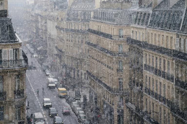 "Snow falls on Paris during the cold front dubbed ""The Beast from the East"""