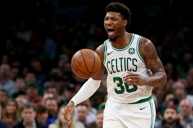 Boston Celtics guard Marcus Smart was fined $50,000 by the NBA on Thursday after shoving Philadelphia's Joel Embiid to the floor in a loss Wednesday (AFP Photo/Maddie Meyer)