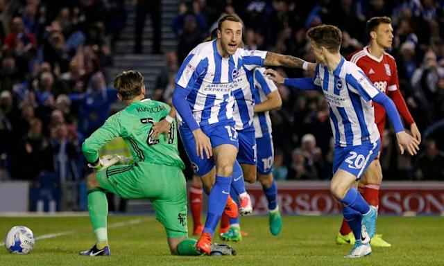 """<span class=""""element-image__caption"""">Glenn Murray celebrates the goal that put Brighton on their way to a 3-1 win over Birmingham.</span> <span class=""""element-image__credit"""">Photograph: Henry Browne/Reuters</span>"""