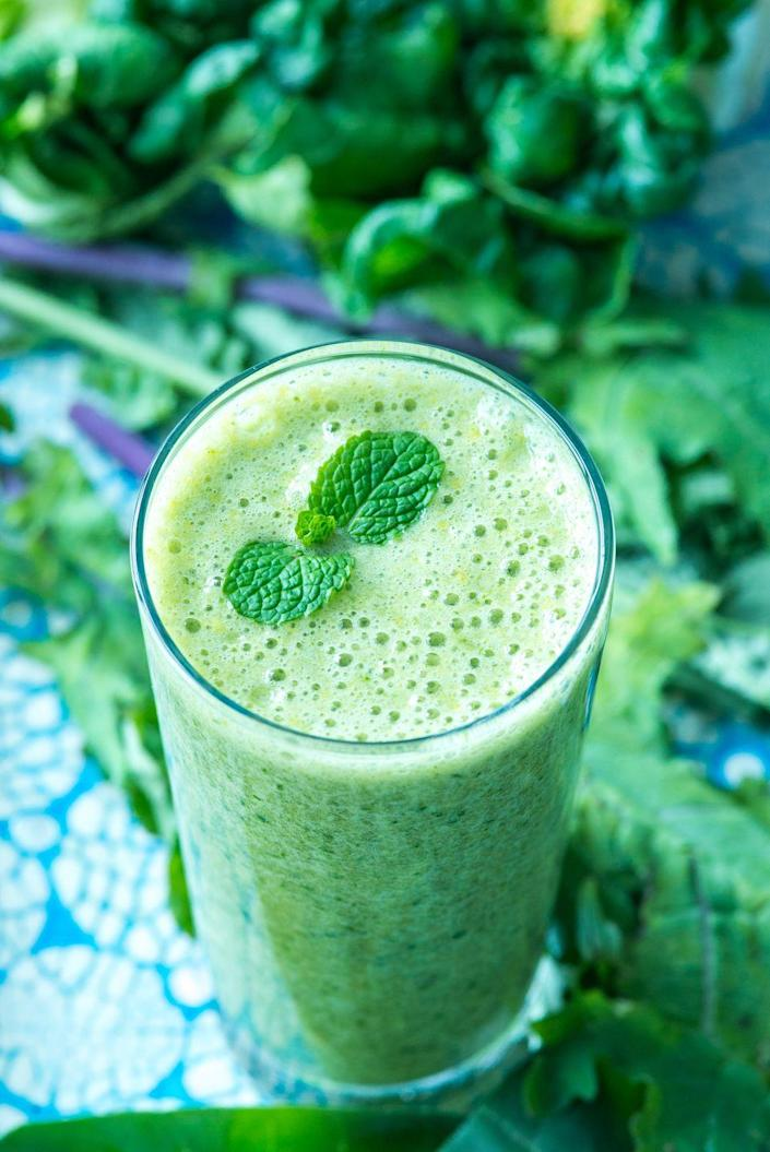 "<p>""The ingredients in this smoothie are filled with vitamins and minerals,"" Kennedy says. ""There's <a href=""https://www.womansday.com/health-fitness/nutrition/advice/g57/15-fiber-packed-snacks-105972/"" rel=""nofollow noopener"" target=""_blank"" data-ylk=""slk:plenty of fiber"" class=""link rapid-noclick-resp"">plenty of fiber</a> and protein for fullness, without overdoing it on fruit or calories. Also, it's a good way to get in a vegetable like kale if you don't enjoy eating it.""<br></p><p><em>Get the recipe at <a href=""https://www.wellplated.com/kale-pineapple-smoothie/"" rel=""nofollow noopener"" target=""_blank"" data-ylk=""slk:Well Plated."" class=""link rapid-noclick-resp"">Well Plated. </a></em></p>"