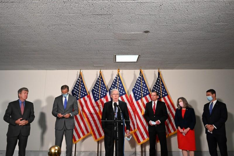 U.S. Senate Majority Leader McConnell and other Republicans speak to reporters on Capitol Hill in Washington