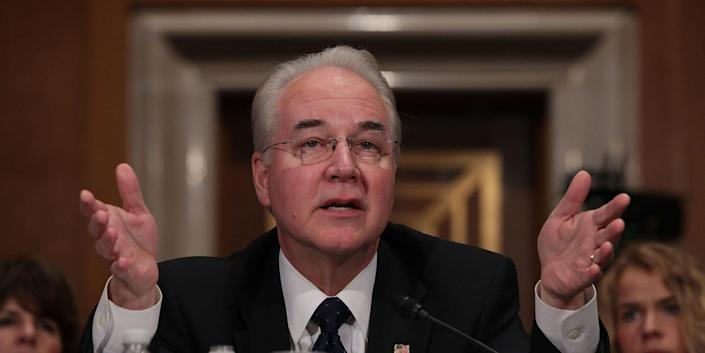 Former Health and Human Services Secretary Tom Price testifies during his confirmation hearing on January 18, 2017.