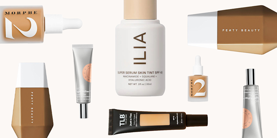 """<p class=""""body-dropcap"""">Hi, hello, and welcome to my TED talk on skin tints, aka my absolute favorite makeup thing right now. <strong>Skin tints, if you're new to the trend, are basically a sheerer version of <a href=""""https://www.cosmopolitan.com/style-beauty/beauty/g24522887/best-tinted-moisturizer-skin-type/"""" rel=""""nofollow noopener"""" target=""""_blank"""" data-ylk=""""slk:tinted moisturizers"""" class=""""link rapid-noclick-resp"""">tinted moisturizers</a></strong>—think: the ultimate in no-makeup makeup. Unlike foundation or even full-coverage BB/CC creams, skin tints are super lightweight and blendable, meaning you don't need to use a <a href=""""https://www.cosmopolitan.com/style-beauty/beauty/how-to/a40310/makeup-brushes-how-to/"""" rel=""""nofollow noopener"""" target=""""_blank"""" data-ylk=""""slk:makeup brush"""" class=""""link rapid-noclick-resp"""">makeup brush</a> or sponge to apply one (clean fingers work just fine), and since they're so sheer, they don't get cakey or settle into fine lines or pores throughout the day either. Will they cover a full-on <a href=""""https://www.cosmopolitan.com/style-beauty/beauty/a36031232/papulopustular-rosacea-treatment/"""" rel=""""nofollow noopener"""" target=""""_blank"""" data-ylk=""""slk:rosacea"""" class=""""link rapid-noclick-resp"""">rosacea</a> flare or <a href=""""https://www.cosmopolitan.com/style-beauty/beauty/a32209669/cystic-acne-treatment/"""" rel=""""nofollow noopener"""" target=""""_blank"""" data-ylk=""""slk:cystic acne breakout"""" class=""""link rapid-noclick-resp"""">cystic acne breakout</a>? No. But they're also not meant to. The main purpose of a skin tint is to provide just a hint of (somewhat buildable) coverage while feeling like you're wearing nothing on your face. Basically, you just gotta try it to see the hype. And to get you started, I rounded up the seven best skin tints that'll make your skin glow with virtually zero effort, below.</p>"""