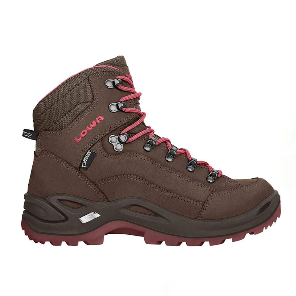 "<a href=""https://www.glamour.com/gallery/cute-hiking-boots?mbid=synd_yahoo_rss"" rel=""nofollow noopener"" target=""_blank"" data-ylk=""slk:Cute hiking boots"" class=""link rapid-noclick-resp"">Cute hiking boots</a> do exist, and this pair is proof. The tried-and-true Renegade style has been around for over 20 years and is sought after by seasoned hikers and glampers alike. The shoe wins max points for sturdiness and durability: The D-ring hooks (the metal pieces that secure the laces) help lock your ankle in place for max support and the thick Vibram sole offers serious traction on slippery, muddy grounds. $240, Backcountry. <a href=""https://www.backcountry.com/lowa-renegade-gtx-mid-hiking-boot-womens"" rel=""nofollow noopener"" target=""_blank"" data-ylk=""slk:Get it now!"" class=""link rapid-noclick-resp"">Get it now!</a>"