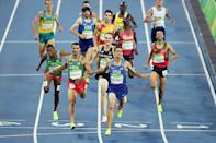 <p>Matthew Centrowitz of the United States reacts after winning gold in the Men's 1500 meter Final on Day 15 of the Rio 2016 Olympic Games at the Olympic Stadium on August 20, 2016 in Rio de Janeiro, Brazil. (Photo by Matthias Hangst/Getty Images) </p>