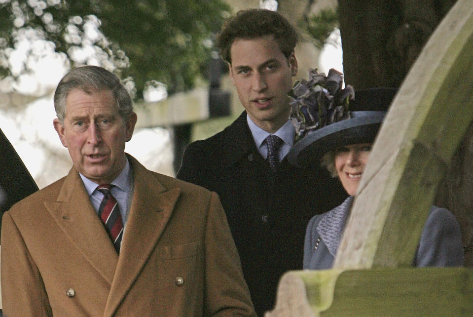 KING'S LYNN, UNITED KINGDOM - DECEMBER 25: Britain's Prince Charles, Prince of Wales, Prince William and Camilla, Duchess of Cornwall  leave Sandringham Church after attending the Christmas Day service on December 25, 2005 in Norfolk, England.  (Photo by Daniel Berehulak/Getty Images)