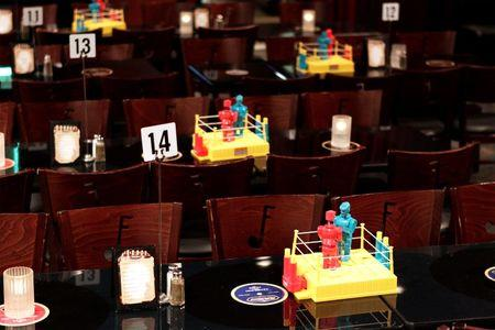 Boxing games are placed on tables before a night of Corporate Challenge Boxing in New York