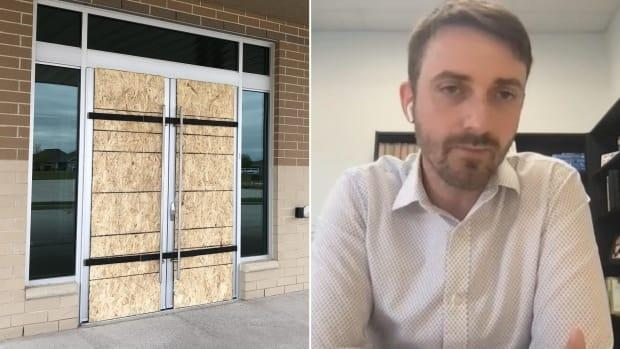 A church in LaSalle has reported an act of vandalism to police after one of its glass doors were smashed. But a pastor for the church says he believes these are 'one-off' incidents by someone frustrated about other churches defying COVID-19 rules. (Jennifer La Grassa/CBC - image credit)