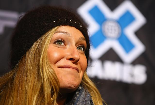 ASPEN, CO - JANUARY 22: Slopestyle snowboarder Jamie Anderson addresses the media during a press conference at Winter X-Games 2014 Aspen at Buttermilk Mountain on January 22, 2014 in Aspen, Colorado. (Photo by Doug Pensinger/Getty Images)
