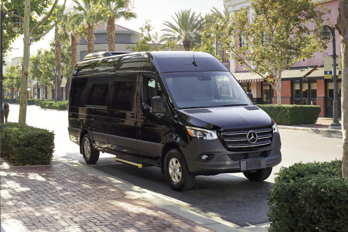 This undated photo provided by Mercedes-Benz USA shows the Mercedes-Benz Sprinter. Available with multiple roof heights, multiple engines and multiple lengths, the Sprinter is highly customizable and seriously spacious inside. It can be had in passenger or cargo configurations, and it has so much room for activities. (Mercedes-Benz USA via AP)