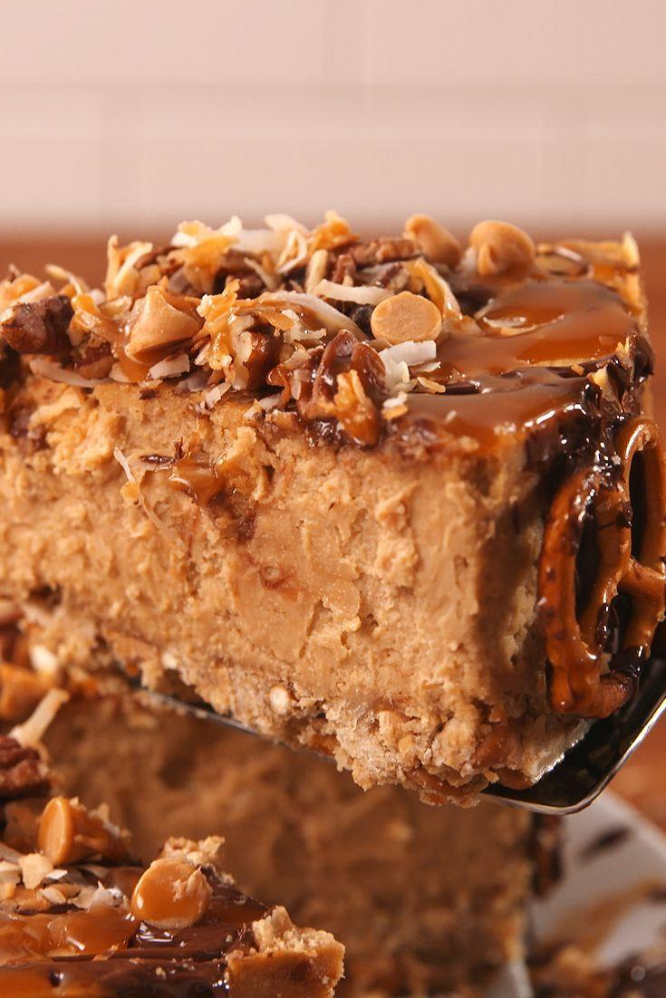 """<p>This cheesecake truly is salty sweet at its best.</p><p>Get the recipe from <a href=""""/cooking/recipe-ideas/recipes/a53796/cowboy-cheesecake-recipe/"""" data-ylk=""""slk:Delish"""" class=""""link rapid-noclick-resp"""">Delish</a>. </p>"""