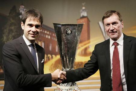 Football Soccer - UEFA Europa League Semi-Final Draw - Nyon, Switzerland - 21/4/17 Celta Vigo Technical Secretary Borja Oubina (L) and Manchester United Club Secretary John Alexander (R) pose after the draw of the UEFA Europa League semi-finals Reuters / Pierre Albouy Livepic