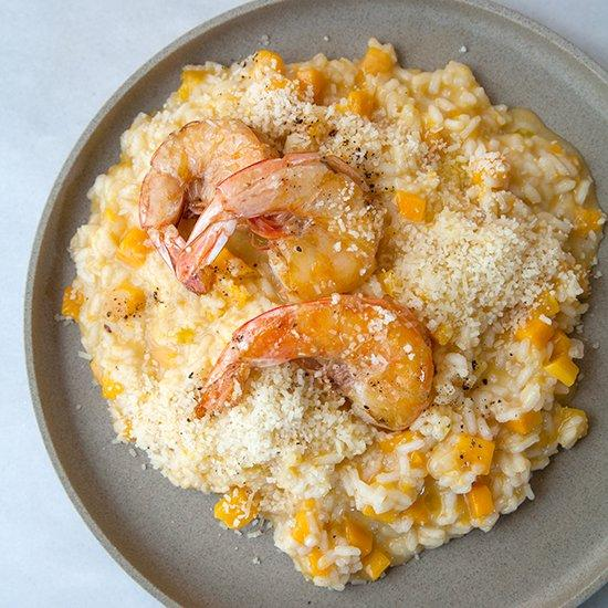 "<p>Roasted butternut squash gets incorporated into decadent risotto, then topped with juicy shrimp in this fantastic dish.</p><p><a href=""https://www.foodandwine.com/recipes/butternut-squash-risotto-with-shrimp"">GO TO RECIPE</a></p>"