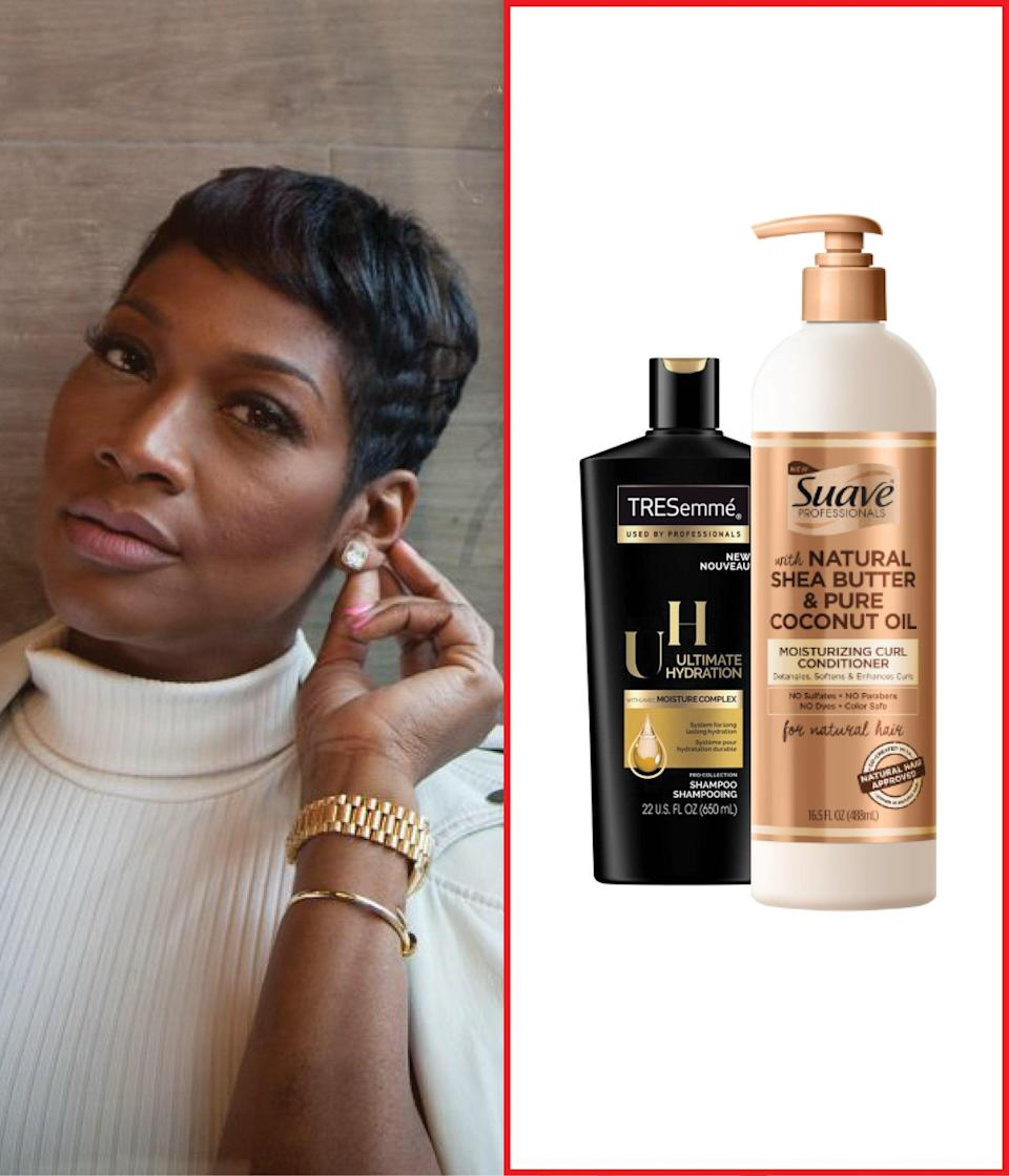 """<a href=""""https://www.target.com/p/suave-professionals-for-natural-hair-moisturizing-curl-conditioner-for-wavy-curly-and-coily-hair-shea-butter-and-coconut-oil-16-5-fl-oz/-/A-78314314"""" rel=""""nofollow noopener"""" target=""""_blank"""" data-ylk=""""slk:Suave Professionals Moisturizing Curl Conditioner for Natural Hair"""" class=""""link rapid-noclick-resp"""">Suave Professionals Moisturizing Curl Conditioner for Natural Hair</a> works especially well when used in conjunction with <a href=""""https://www.target.com/p/suave-professionals-for-natural-hair-cleansing-sulfate-free-shampoo-for-curly-to-coily-hair-shea-butter-and-coconut-oil-16-5-fl-oz/-/A-78314313"""" rel=""""nofollow noopener"""" target=""""_blank"""" data-ylk=""""slk:the sulfate-free shampoo"""" class=""""link rapid-noclick-resp"""">the sulfate-free shampoo</a>. It deeply moisturizes and provides maximum slip, and makes detangling a breeze while taming frizz and enhancing shine. <a href=""""https://www.target.com/p/tresemme-curl-hydrate-curl-cream-10-2-fl-oz/-/A-79778433"""" rel=""""nofollow noopener"""" target=""""_blank"""" data-ylk=""""slk:Tresemme's Curl Hydrate Leave-in Creme"""" class=""""link rapid-noclick-resp"""">Tresemme's Curl Hydrate Leave-in Creme</a> is also amazing! It replenishes moisture in your hair's most dry areas, providing optimal curl hydration to detangle hair, tame frizz, and boost shine. —<a href=""""https://www.instagram.com/ursulastephen"""" rel=""""nofollow noopener"""" target=""""_blank"""" data-ylk=""""slk:Ursula Stephen"""" class=""""link rapid-noclick-resp""""><em>Ursula Stephen</em></a><em>, celebrity hairstylist</em> $6, Target. <a href=""""https://www.target.com/p/suave-professionals-for-natural-hair-cleansing-sulfate-free-shampoo-for-curly-to-coily-hair-shea-butter-and-coconut-oil-16-5-fl-oz/-/A-78314313"""" rel=""""nofollow noopener"""" target=""""_blank"""" data-ylk=""""slk:Get it now!"""" class=""""link rapid-noclick-resp"""">Get it now!</a>"""