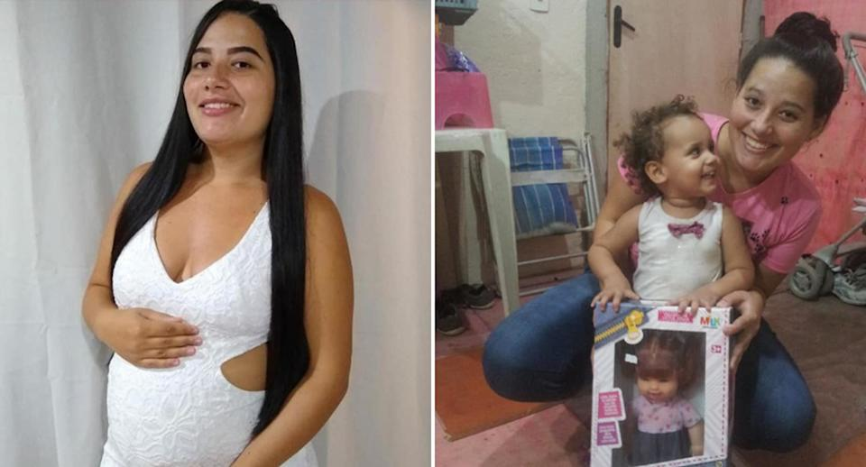 Milena Gloria Cardoso pictured while pregnant on the left and on the right with a child holding up a new doll.