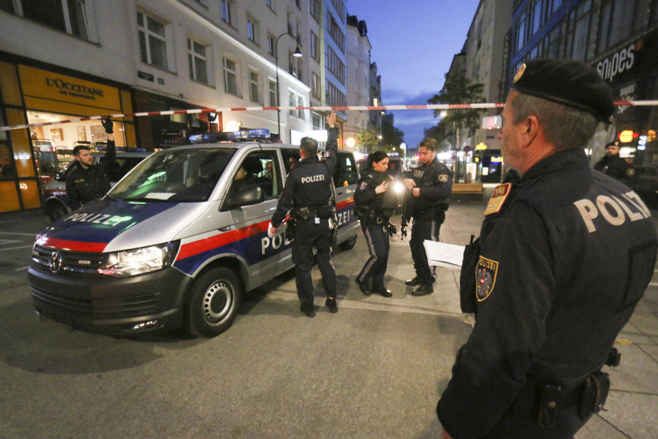Following gunfire on people enjoying a last evening out before lockdown, police patrol at the scene in Vienna, early Tuesday, Nov. 3, 2020. Police in the Austrian capital said several shots were fired shortly after 8 p.m. local time on Monday, Nov. 2, in a lively street in the city center of Vienna. Austria's top security official said authorities believe there were several gunmen involved and that a police operation was still ongoing. (Photo/Ronald Zak)