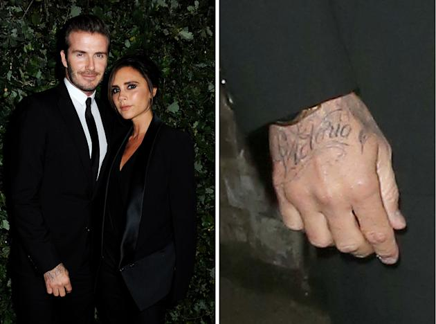 David Beckham Shows Off Hot New Accessory His Victoria Tattoo