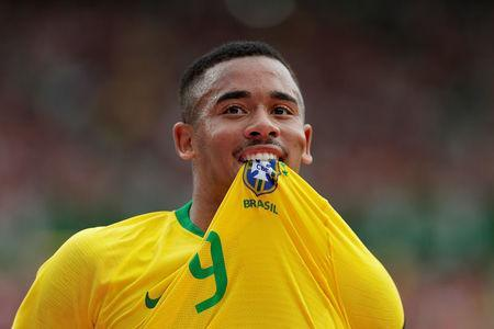 Soccer Football - International Friendly - Austria vs Brazil - Ernst-Happel-Stadion, Vienna, Austria - June 10, 2018 Brazil's Gabriel Jesus celebrates scoring their first goal REUTERS/Heinz-Peter Bader