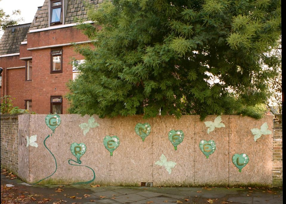 Green peace: a memorial to Grenfell victims on Lancaster Road last year (Sebastian Barros)