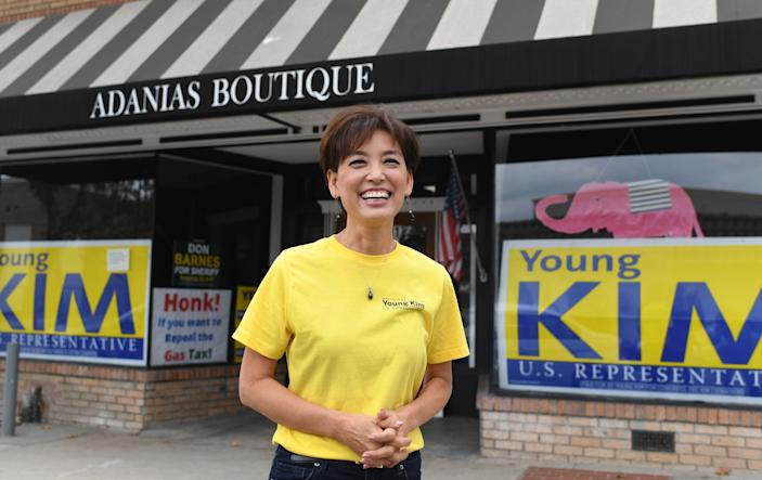 Republican candidate for US Congress Young Kim, 55, poses for a portrait at her campaign office in Yorba Linda, California, October 6, 2018.
