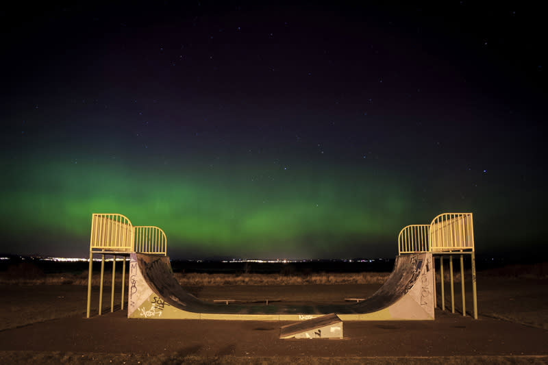 <p>Skatepark under the Northern Lights, Musselburgh, Edinburgh, Scotland. (Andrew Bulloch/Young Landscape Photographer of the Year 2017) </p>