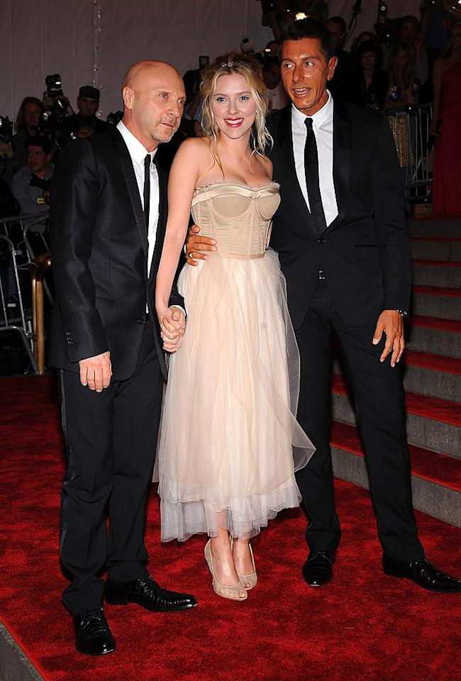 """Flanked by her buddies Dolce & Gabbana, the newly engaged Scarlett Johannson showed off her smile while sporting an ivory tulle gown. Dimitrios Kambouris/<a href=""""http://www.wireimage.com"""" target=""""new"""">WireImage.com</a> - May 5, 2008"""