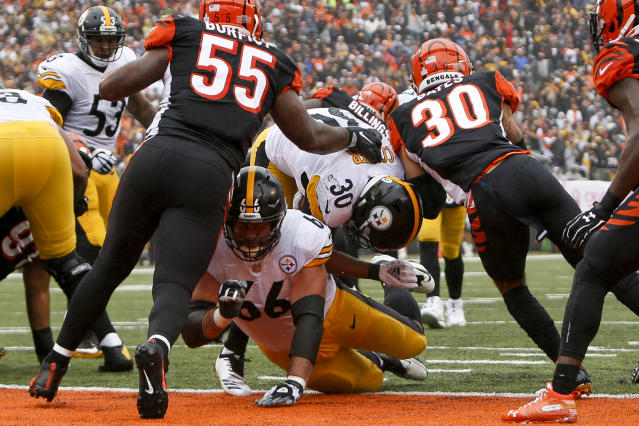 James Conner had a fine day on the ground against the Bengals, rushing for 111 yards and two touchdowns. (AP)