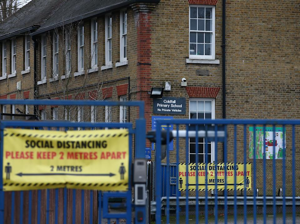 <p>Social distancing signs displayed at Coldfall Primary School in Muswell Hill</p> (Getty Images)