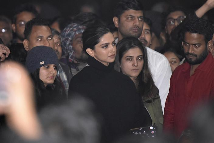 NEW DELHI, INDIA - JANUARY 7: Actor Deepika Padukone is seen at a gathering at JNU in solidarity with the students against Sunday's violence on January 7, 2020 in New Delhi, India. On Sunday, a mob of masked young people stormed the JNU campus in south Delhi and systematically targeted students in three hostels, unleashing mayhem with sticks, stones and iron rods, hitting inmates and breaking windows, furniture and personal belongings. At least 30 people including students and teachers injured. They also attacked a women's hostel. Left and ABVP are blamed each other for the attack. (Photo by Vipin Kumar/Hindustan Times via Getty Images)
