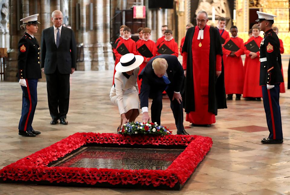 US President Donald Trump and First Lady Melania Trump lay a wreath at the Grave of the Unknown Warrior during their visit to Westminster Abbey on June 3, 2019 in London, England. (Photo: Chris Jackson/Getty Images)