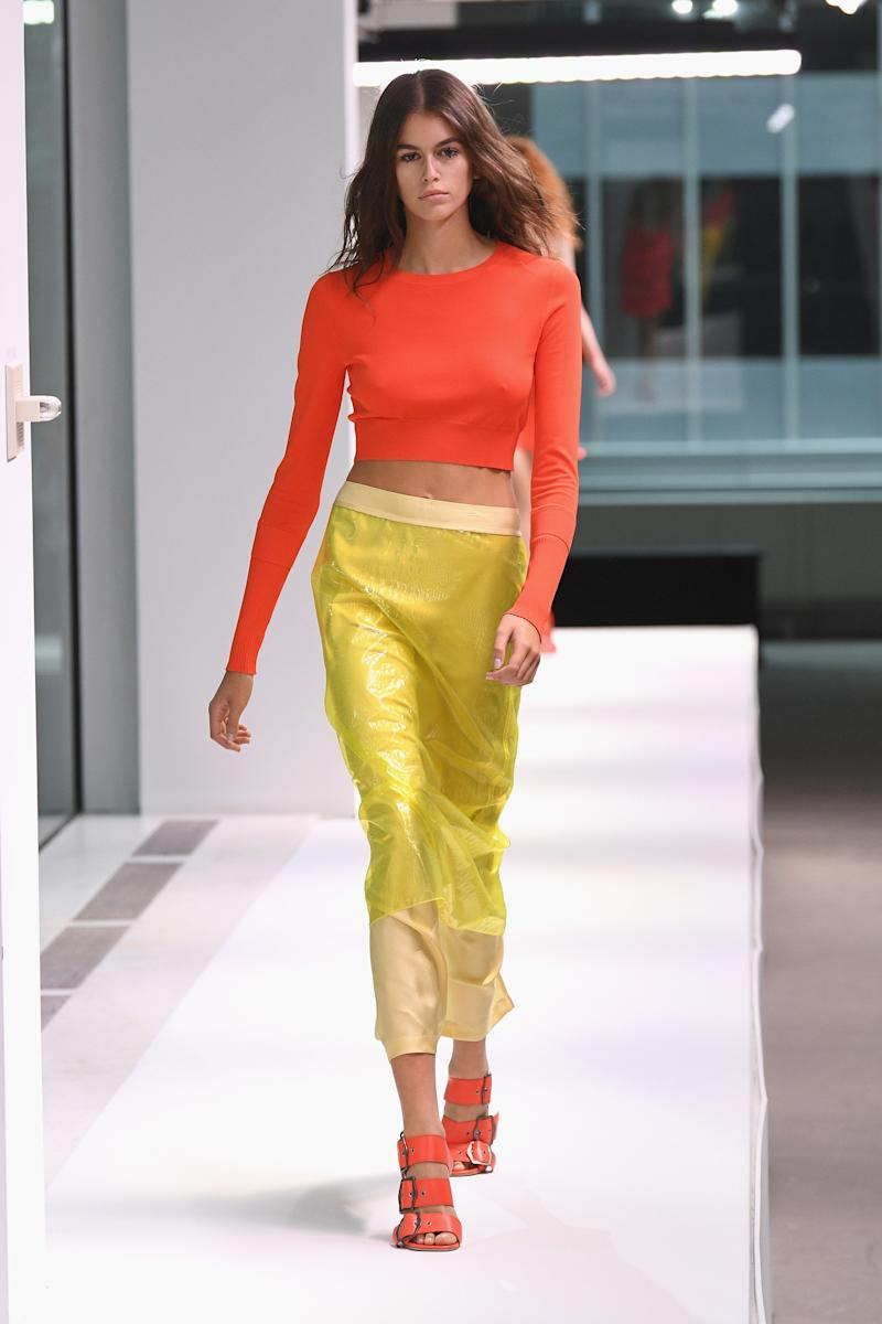 Model Kaia Gerber walks the runway at the Sies Marjan show during New York Fashion Week on September 9, 2018 in New York City. Photo courtesy of Getty Images.