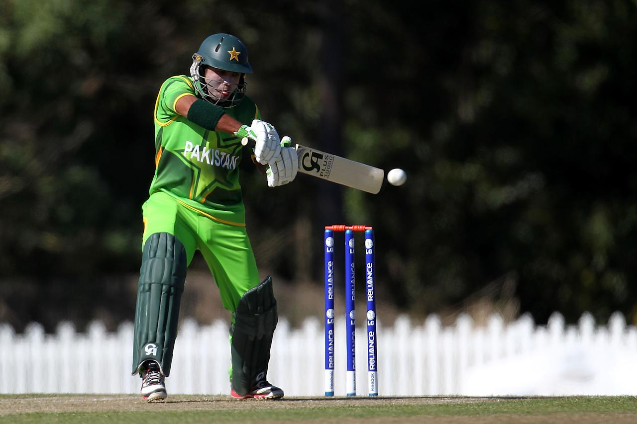 SUNSHINE COAST, AUSTRALIA - AUGUST 11:  Sami Aslam of Pakistan bats during the ICC U19 Cricket World Cup 2012 match between Pakistan and Afghanistan at John Blanck Oval on August 11, 2012 in Sunshine Coast, Australia.  (Photo by Graham Denholm-ICC/Getty Images)