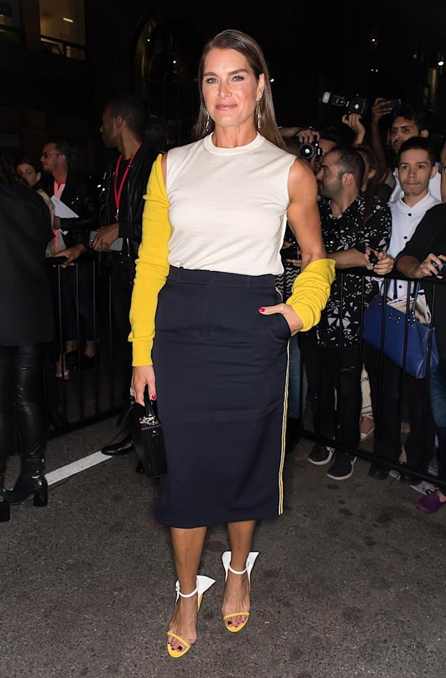 <p>Brooke Shields arrives at Calvin Klein Collection fashion show during New York Fashion Week on September 7, 2017. (Photo by Gilbert Carrasquillo/GC Images) </p>